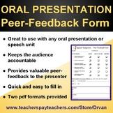 Speech Assignment / Oral Presentation - PEER-FEEDBACK FORM