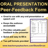 Speech Assignment / Oral Presentation - PEER-FEEDBACK FORM