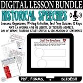 Historical Speeches Lesson BUNDLE Common Core ELA Test Prep Quizzes & Activities