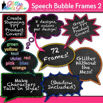 Speech Bubble Frame Clip Art {Rainbow Chalkboard Labels for Resources} 2