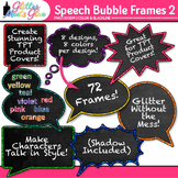 Speech Bubble Frame Clip Art {Rainbow Chalkboard Labels fo