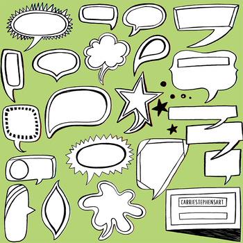 Speech Bubbles PNG ClipArt Images, Label Line Art and Silhouette Graphics