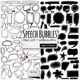 Speech Bubbles PNG ClipArt Images, Label Line Art and Silhouette Graphics
