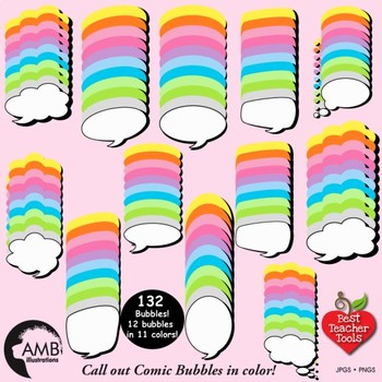 Speech Bubble Clipart, Multi-Colored Comic Book Callouts, AMB-1011