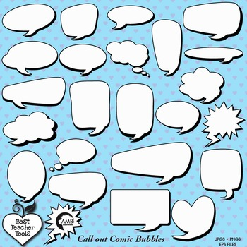 Speech Bubble Clipart, Superhero Comic Clipart, Comic book callouts,  AMB-1010