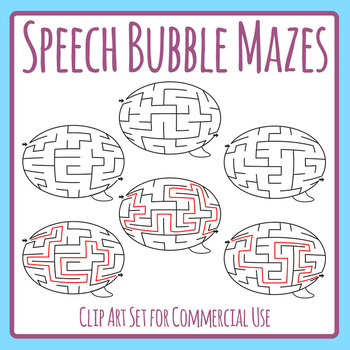 Speech Bubble Mazes Clip Art Set with Solutions