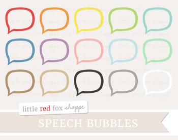 Speech Bubble Outline Clipart; Thought, Talk, Cloud
