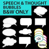 Speech Bubble / Thought bubble w/stitch details Black/White only