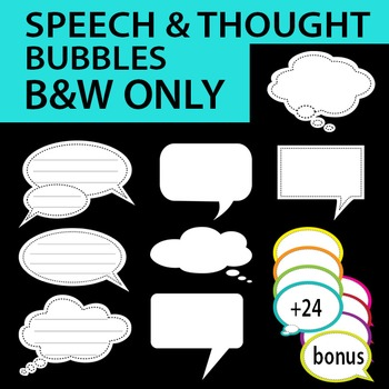 Speech Bubble / Thought bubble w/stitch details Black/White only