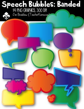 Speech Bubbles: Banded! ~ Commercial Use OK { $$ Dollar Deal $$ }