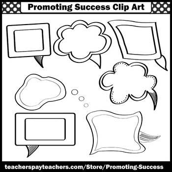 Speech Bubbles Clip Art, Conversation Clipart Cartoon Strips, Speech Therapy SPS