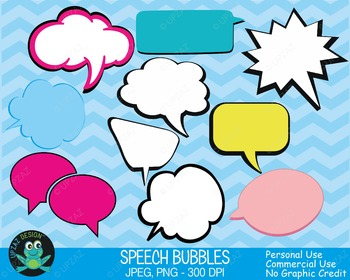 Talking Speech Bubbles (Upzaz Digital Clipart)