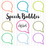 Speech Bubbles Clipart. 50 elements. 25 colors.