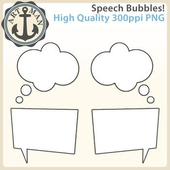 Speech Bubbles Clipart {Anchor Art Man}