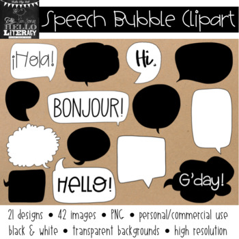 Speech Bubbles Clipart (for personal and commercial use)