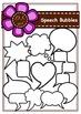 Speech Bubbles Digital Clipart (color and black&white)