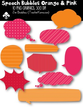 Speech Bubbles: Orange & Pink ~ Commercial Use OK { $$ Dollar Deal $$}