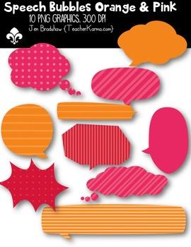 Speech Bubbles: Orange & Pink ~ Commercial Use OK { $$ Dol