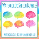 Speech Bubbles Quotation Template Handpainted Watercolor Clip Art Set
