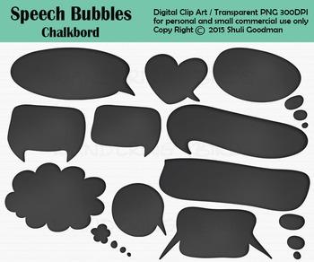Speech Bubbles clip art - Chalkboard style