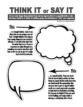 Speech Bubbles for Social Communication - Think It or Say It