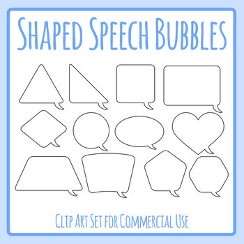 Speech Bubbles in Different Shapes Clip Art Set for Commercial Use