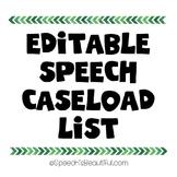 Editable Speech Caseload Roster List {FREEBIE}