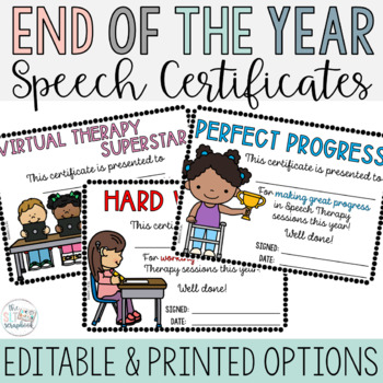 End of the Year Awards- Speech Certificates- No Prep