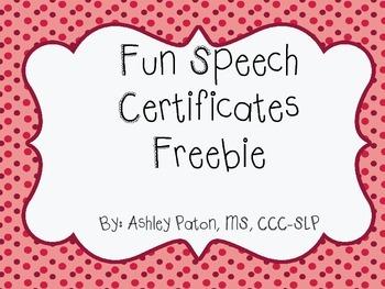 Speech Certificates Freebie!