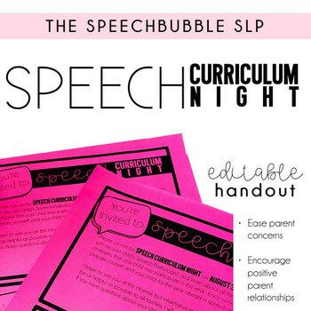 Speech Curriculum Night EDITABLE Handout