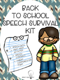 Back to School Speech Survival Kit