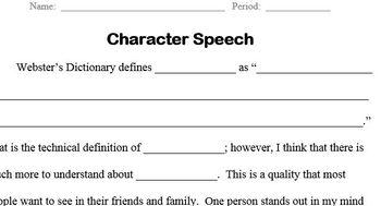 Free Speech Unit - Public Speaking; Fill-in-the-Blank Speech; Character Ed