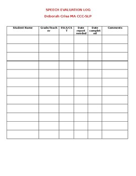 Speech Evaluation Log