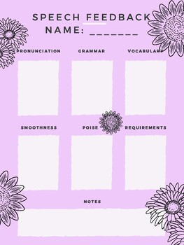 Speech Feedback Grading Form Purple Daisy Design