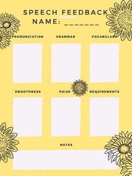 Speech Feedback Grading Form Yellow Daisy Design