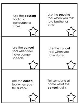 Speech Fluency (Stuttering) Punch Cards for Carryover