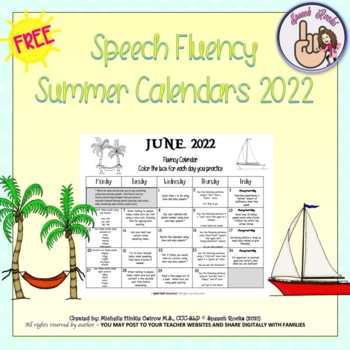 Speech Fluency Summer Calendars ~ 2017 {FREEBIE}