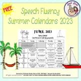 Speech Fluency Summer Calendars ~ 2018 {FREEBIE}