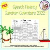 Speech Fluency Summer Calendars ~ 2019 {FREEBIE}