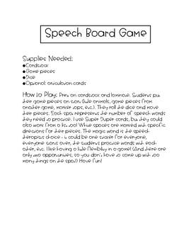 Speech Articulation & Phonology Game Board