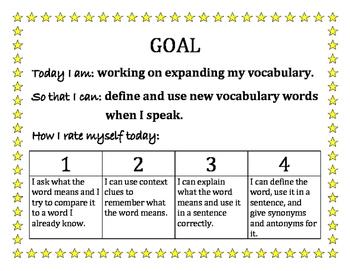 Speech Goals and Rubrics for Self Assessment