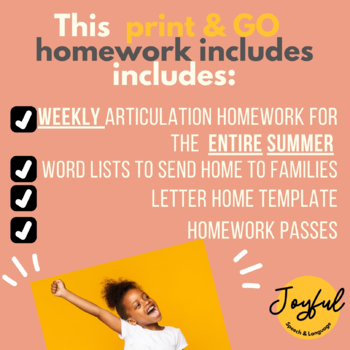 Speech Homework AND Word Lists for the Entire Summer 2017 [Articulation]