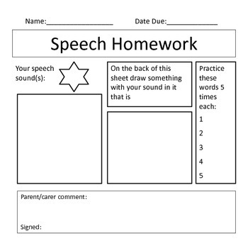 Speech Homework Bundle- Articulation