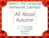 Speech Homework Calendar - Autumn