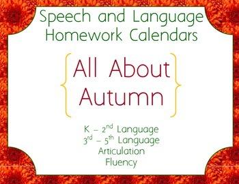 Speech Homework Calendar - Autumn