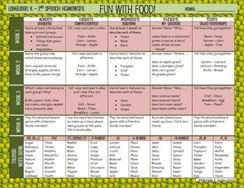Speech Homework Calendar - Food