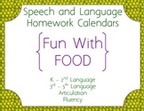 Speech Homework Calendar - Food