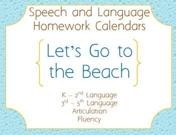 Speech Homework Calendar - Beach