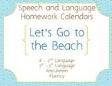 Speech Homework Calendar - Beach
