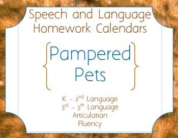 Speech Homework Calendar - Pets